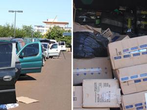 Carros eram utilizados para transportar mercadorias contrabandeadas, diz polícia. - Crédito: Foto: Divulgação PRF