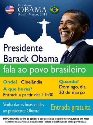 Presidente Obama vai discursar na Cinelândia - Crédito: Foto: Divulgação / Consulado Americano