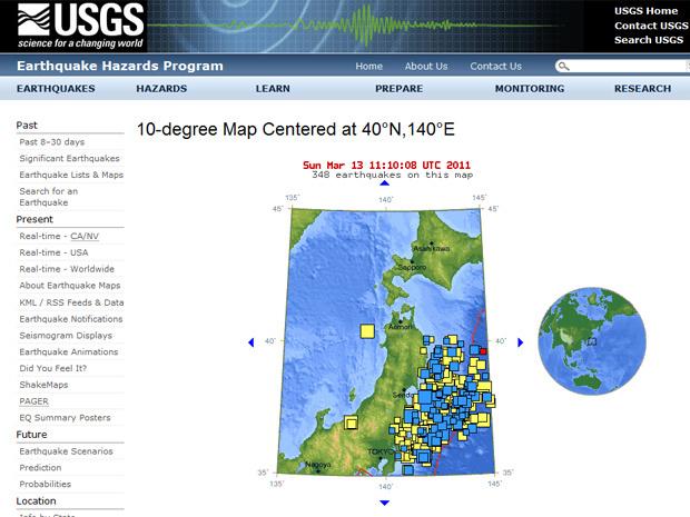 Gráfico do site do Serviço Geológico dos EUA mostra tremores secundários ocorridos desde sexta na costa japonesa - Crédito: Foto: Reprodução