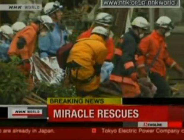 Bombeiros encontram sobreviventes 96 horas após tsunami atingir Japão - Crédito: Foto : Reprodução/TV