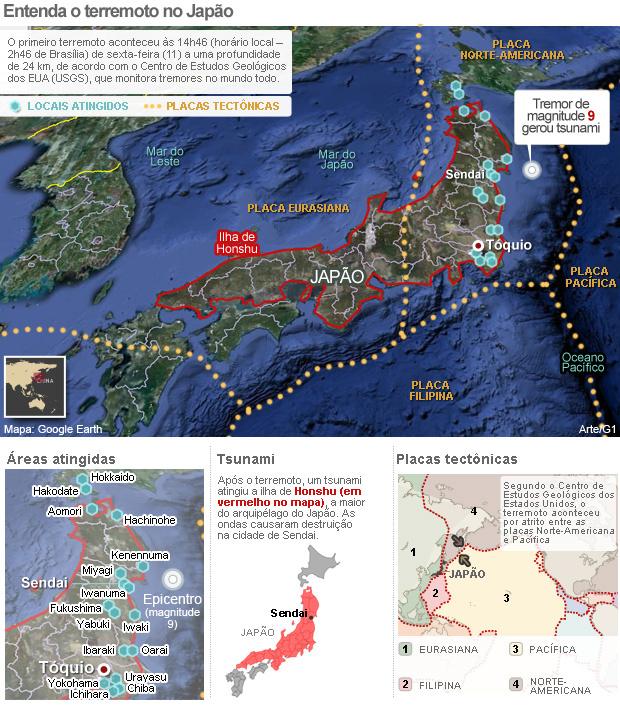 VALE ESTE MAGNITUDE REVISADO - Entenda o terremoto no Japão - Crédito: Foto: Arte/G1