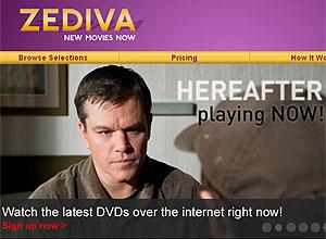 Zediva lançou nesta quarta-feira serviço de streaming de filmes - Crédito: Foto: Reprodução