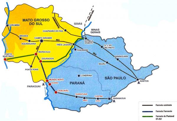 Mapa mostra rotas alternativas que podem tornar Dourados entroncamento ferroviário - Crédito: Foto:/ilustração/divulgação