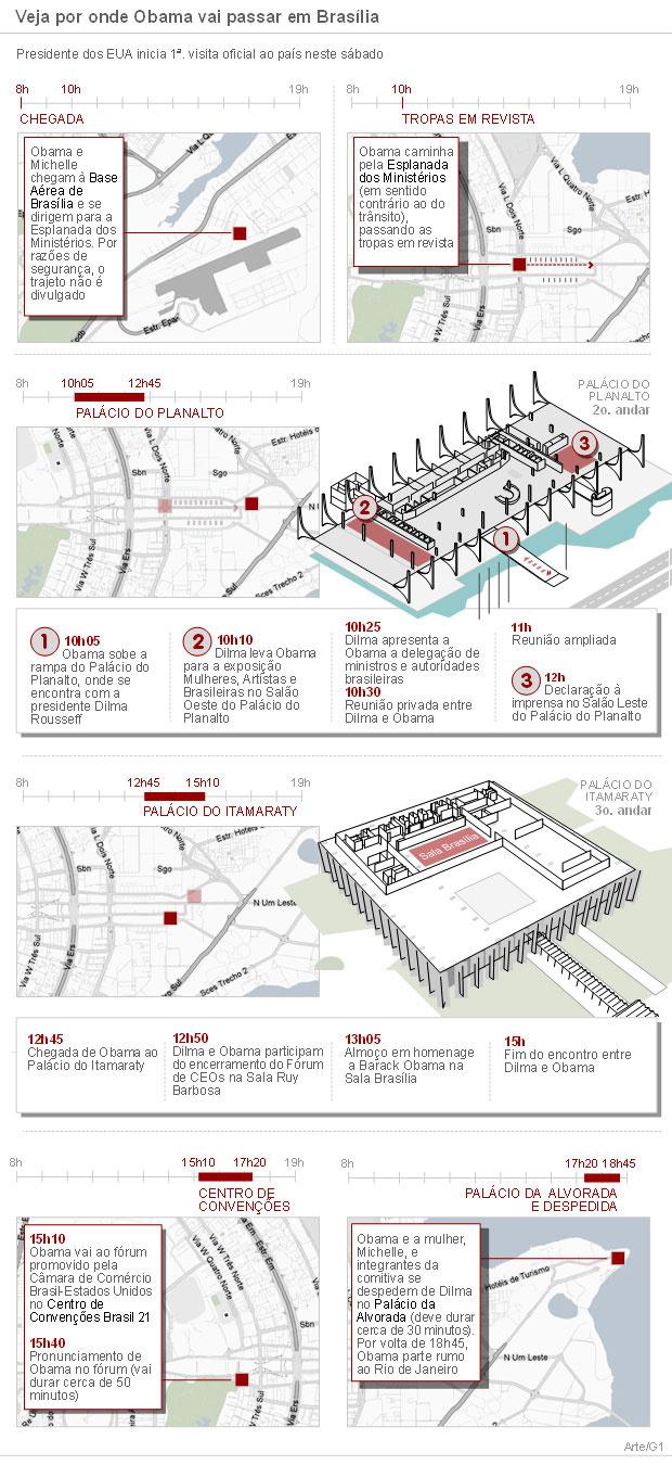 Veja por onde Obama vai passar em Brasília -