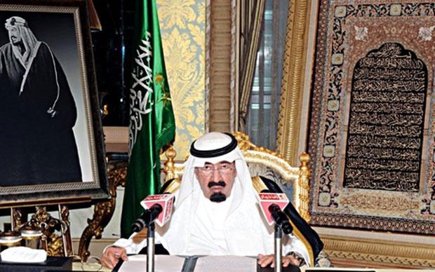 Imagem de folheto publicado em 18 de marco de 2011 pela Agência de Imprensa Saudita mostra o rei saudita Abdullah em discurso à nação através da televisão estatal - Crédito: Foto: AFP PHOTO / HO / SPA