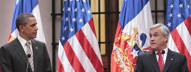 O presidente dos EUA, Barack Obama, e o do Chile, Sebastián Piñera, nesta segunda-feira - Crédito: Foto: AP