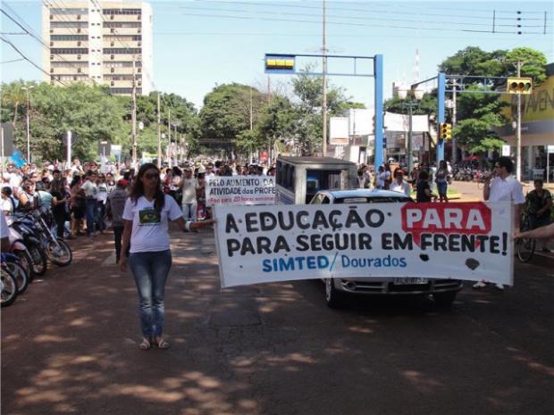 Professores protestam por melhores salários nas escolas rede estadual de ensino - Crédito: Foto: divulgação
