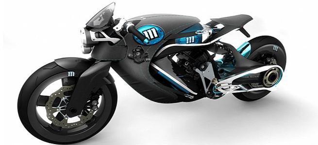 """Moto conceitual Saline Bird Concept: carenagem de couro facilmente retirada paera se transformar em um modelo do estilo \""""naked\"""" -"""