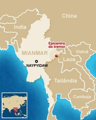 Mapa mostra local do epicentro do tremor - Crédito: Editoria de Arte / G1
