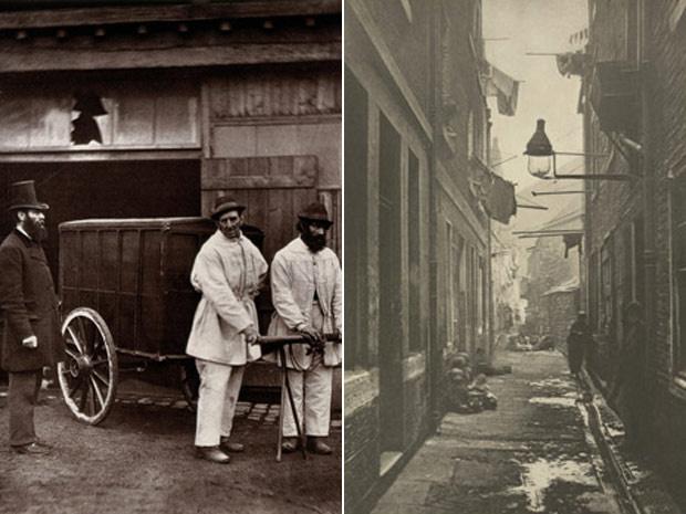 As cidades de Hannover, na Alemanha, e Londres, na Inglaterra, tiveram suas ruas fotografadas sob o prisma da sujeira e da higiene no séculos 19 - Crédito: Foto: Wellcome Library e British Library Board