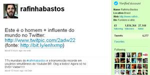 Perfil de Rafinha Bastos conta com mais de 1,8 milhões de seguidores - Crédito: Foto: Reprodução