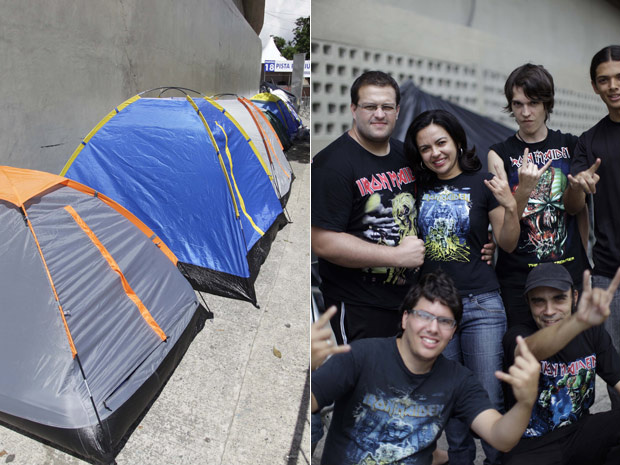 Fãs da banda inglesa Iron Maiden acampam na tarde desta sexta-feira - Crédito: Foto: Nelson Antoine/Fotoarena/AE
