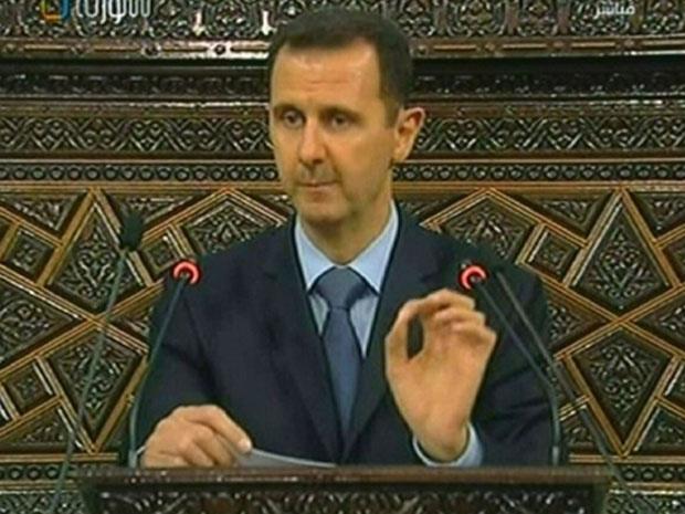 O presidente Bashar al-Assad durante pronunciamento da TV estatal síria, nesta quarta - Crédito: Foto: AFP