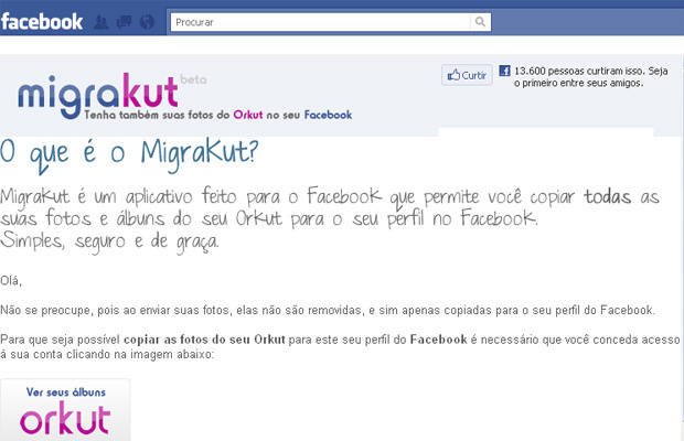 """Aplicativo \""""MigraKut\"""" deve ser instalado no perfil do Facebook - Crédito: Foto: Reprodução"""