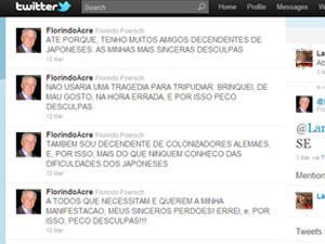 Florindo Poersh pediu desculpas em seu perfil no Twitter após piada sobre japonês. Ele retirou a mensagem original - Crédito: Foto: Reprodução/Twitter