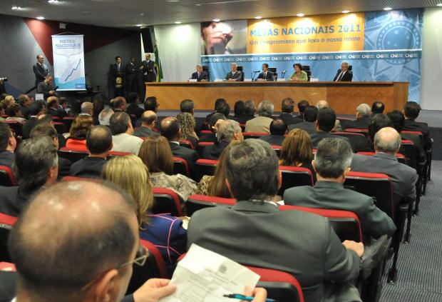 O presidente do STF e do CNJ, ministro Cezar Peluso, participa da divulgação do resultado das metas do Judiciário - Crédito: Foto : Elza Fiúza/Abr