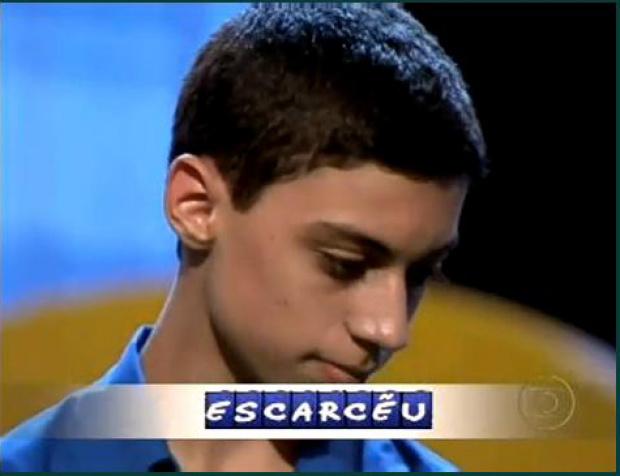 Rafael percebeu o erro cometido ao soletrar escarcéu - Crédito: Foto: Reprodução/internet