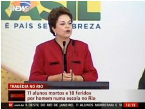 Dilma chora e pede um minuto de silêncio por crianças assassinadas -