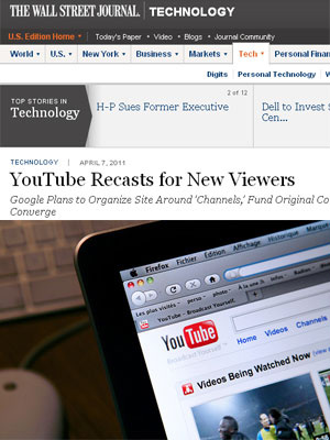 Wall Street Journal publicou matéria sobre o YouTube nesta quinta - Crédito: Foto: Reprodução