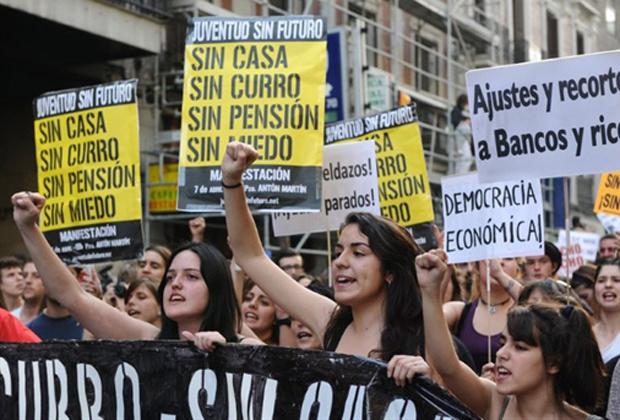 Jovens protestam por emprego nesta quinta-feira - Crédito: Foto: AFP