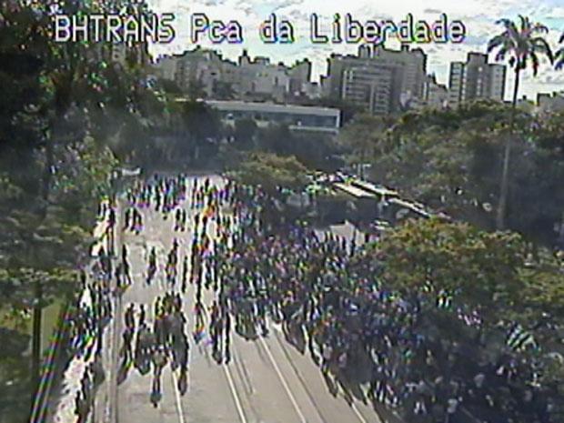 Policiais civis fazem manifestação em Belo Horizonte - Crédito: Foto: Reprodução Câmeras da BHTrans
