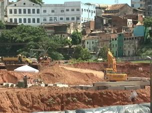 Construção da Nova Fonte Nova está atrasada  - Crédito: Foto: Reprodução da Tv Bahia