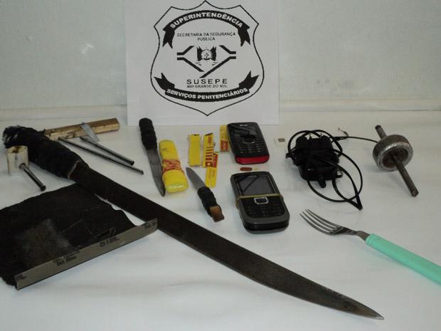 Objetos apreendidos durante revista em presídio no RS - Crédito: Foto: Divulgação/Susepe