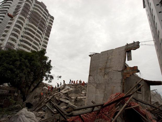 Local onde prédio desabou em Belém, em janeiro deste ano, provocando a morte de três pessoas - Crédito: Foto: Reuters