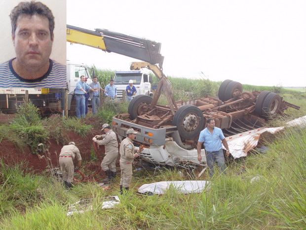 Caminhão de usina tombou. No detalhe, funcionário que morreu preso em ferragens - Crédito: Foto: Sidnei Bronka