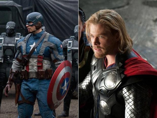 Capitão América e Thor estarão na trama de \'Os Vingadores\' - Crédito: Foto: Divulgação