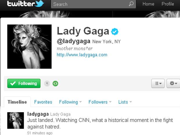 Mensagem que Lady Gaga postou em sua conta no Twitter. - Crédito: Foto: Reprodução