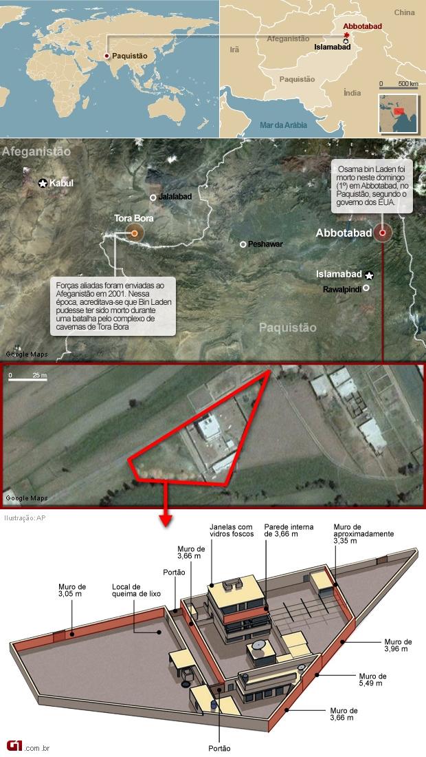 Veja a localização e a planta do local onde vivia Bin Laden -