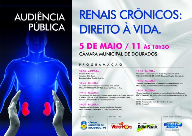 Cartaz enfatiza a programação da audiência pública sobre renais crônicos.   -