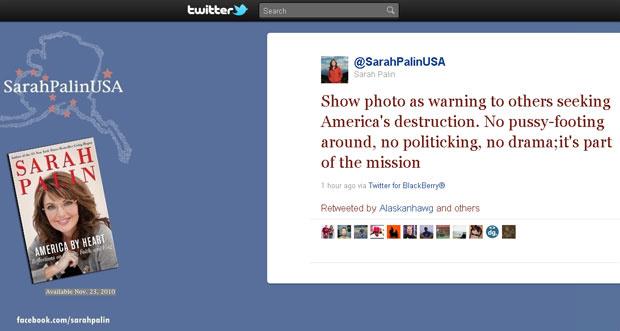 Comentário postado no microblog de Sarah Palin sobre o posicionamento de Obama - Crédito: Foto: Reprodução/Internet