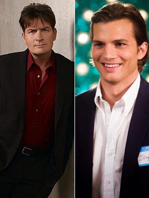 Os atores Charlie Sheen e Ashton Kutcher  - Crédito: Fotos: Divulgação