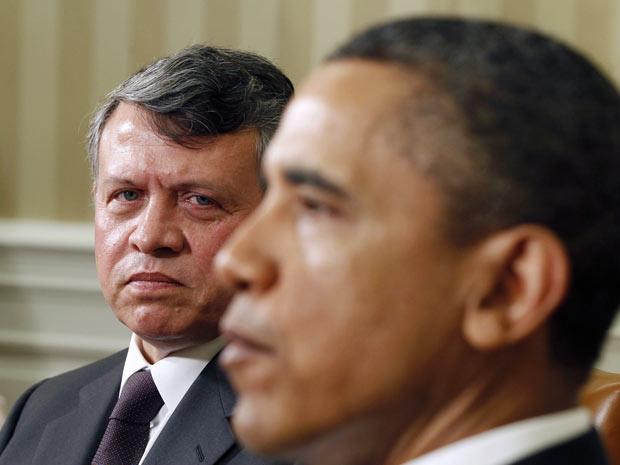 O rei da Jordânia, Abdullah II, e o presidente dos EUA, Barack Obama, durante encontro nesta terça-feira - Crédito: Foto: AP