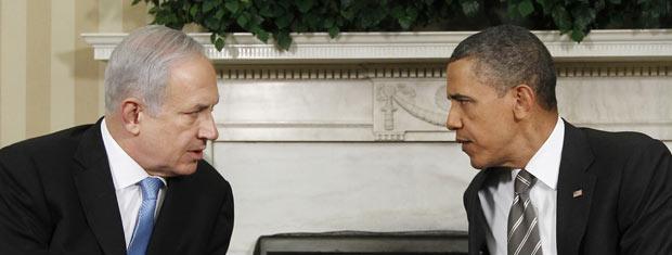 O premiê de Israel, Benjamin Netanyahu, e o presidente dos EUA, Barack Obama, durante encontro nesta sexta-feira - Crédito: Foto: AP