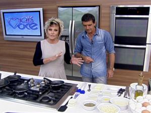 Antonio Banderas ao lado de Ana Maria Braga  - Crédito: Foto: TV Globo