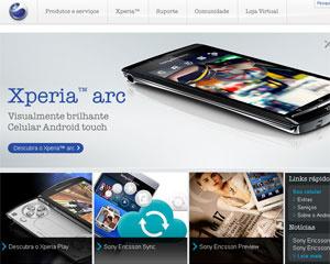 Página da Sony Ericsson Mobile Communications nos Estados Unidos - Crédito: Foto: Reprodução