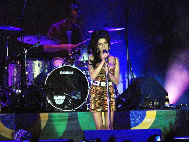 Amy Winehouse durante show no Rio, em janeiro deste ano. - Crédito: Foto: Alexandre Durão / G1