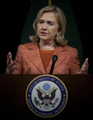 Hillary Clinton discursa em Islamabad - Crédito: Foto: AP