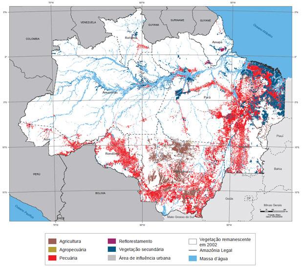 Mapa do IBGE mostra as áreas antropizadas - Crédito: Foto: Reprodução