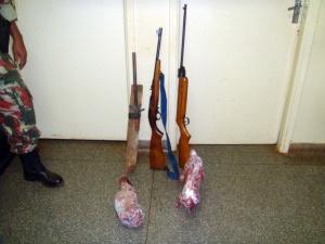 Foram apreendidas carnes de capivara, quati, espingardas e munições - Crédito: Foto: Divulgação/ PMA