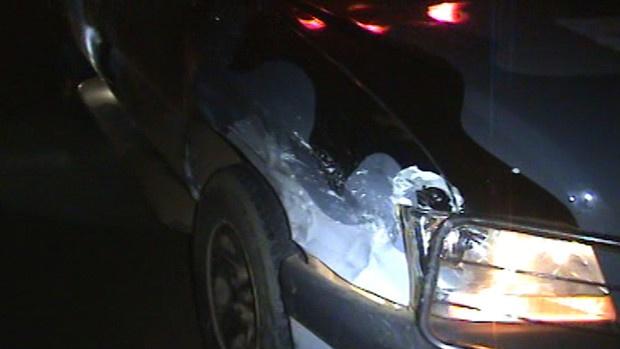 Lateral da viatura do Cigcoe ficou parcialmente destruída em razão da colisão - Crédito: Foto: Divulgação/Cigcoe