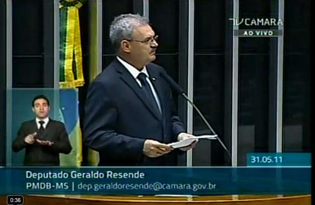 Deputado Geraldo Resende em pronunciamento da tribuna da Câmara Federal -