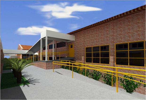 Maquete das obras de ampliação e modernização da sede do Senai de Dourados - Crédito: Foto :  Divulgação