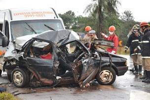 Acidente aconteceu na MS-060 entre Campo Grande e Sidrolândia. - Crédito: Foto: Ricardo Campos Jr./G1 MS