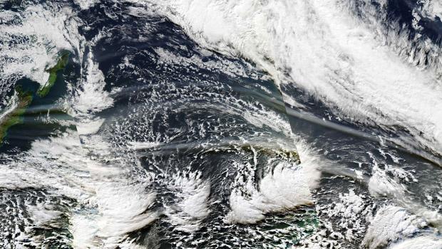 Composição de imagens divulgada pela Nasa mostra a nuvel sobre o sul do Chile nesta terça-feira - Crédito: Foto: AP