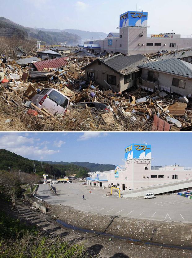 Imagens mostram estacionamento de shopping center em Otsuchi, na província japonesa de Iwate, em 13 de março, dois dias depois do devastador terremoto seguido de tsunami que atingiu a região, e a mesma área, em 3 de junho - Crédito: Foto: AP