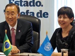 Secretário-geral da ONU se reuniu com ministra Tereza Campello, do desenvolvimento social.  - Crédito: Foto: Antonio Cruz/ABr